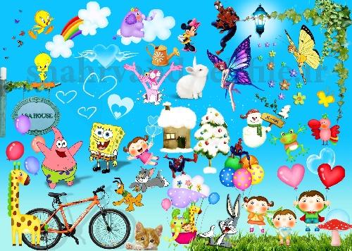 1764078 - مجموعه 60 آبجکت و شخصیت کارتونی لایه باز جهت طراحی عکس های آتلیه کودک و یا طراحی تبلیغاتی مرتبط با کودک(تقویم ، کارت ویزیت و ...) ...